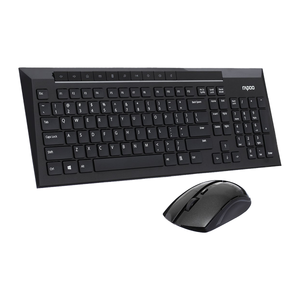 Rapoo 8200p Wireless Optical Mouse & Keyboard Black
